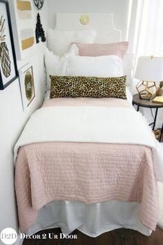 Blush Pink White Amp A Pop Of Black Designer Dorm Bedding