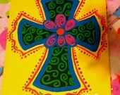 Items similar to Colorful Cross Painting on Stretched Canvas on Etsy Kids Art Class, Art For Kids, Pictures To Paint, Painting Pictures, Cross Art, Church Banners, Arts And Crafts, Diy Crafts, Aesthetic Painting
