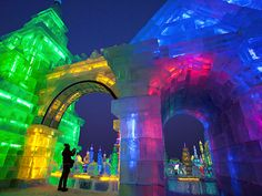 Picture of a woman at the Harbin International Ice and Snow festival, China