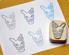 Vintage bunny hand carved rubber stamp