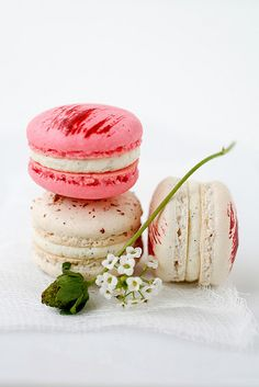 Strawberry and vanilla bean macarons.