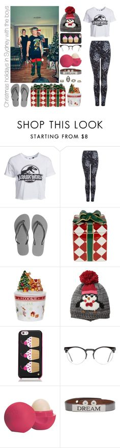 """""""Christmas holidays in Sydney with the boys"""" by michaelssmile ❤ liked on Polyvore featuring New Look, Dex, Havaianas, Waterford, Spode, D&Y, Kate Spade, Spitfire, Eos and Good Work(s)"""