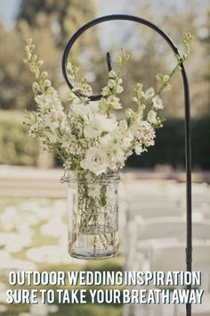 Planning your outdoor wedding? These romantic and rustic decorations are perfect for your ceremony and reception! #weddingideas #weddingplanning #outdoorwedding #weddingdecorations