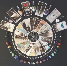 what is your tarot mandala telling you? the wild unknown image via @crystalsandsage mandala, crystals, tarot spread, tarot reading, tarot cards