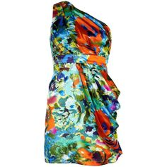 Tropical Print One Shoulder Dress found on Polyvore