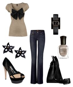"""Lana"" by jennifer-garcia-llanes ❤ liked on Polyvore featuring H&M, 7 For All Mankind, Hermès, Tommy Hilfiger, Jessica Simpson, Zarah Voigt and Deborah Lippmann"