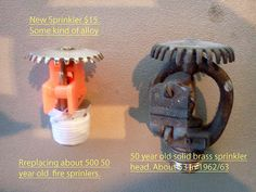 New and old fire sprinklers