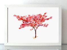 Japanse Esdoorn schilderij Giclee print Waterverf door Zendrawing