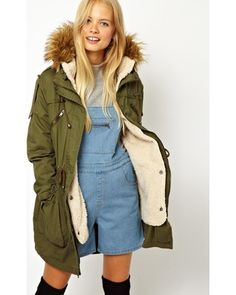 Bundle up in a furry parka for fall. We love the olive color of this Asos…