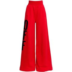 Off White Women Off Flocked Wide Leg Cotton Sweatpants (€540) ❤ liked on Polyvore featuring pants and bottoms