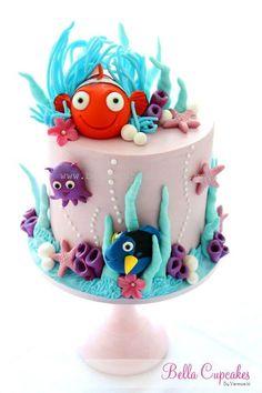 cute Finding Nemo Cake with lavendar & light blue.
