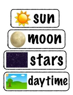 day and night vocabulary words for pre-k, kindergarten, or first grade. also great for ESL/ELL students.