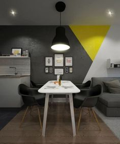 Diseños geométricos para decorar paredes  sala minimalista con paredes grises, amarillo y blanco