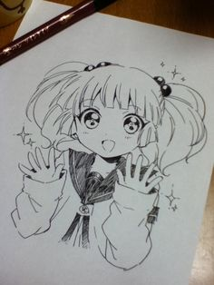 ✮ ANIME ART ✮ anime girl. . .big eyes. . .twin tails. . .seifuku uniform. . .sailor school uniform. . .sweater. . .sparkling. . .smile. . .drawing. . .pen. . .ink. . .doodle. . .cute. . .kawaii