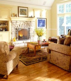 beige furniture and light yellow wall paint for living room design and home staging