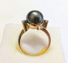 Vintage 14K Tahitian Yellow Gold Pearl Ring by TrendyTreasures1  #vintage #teamlove #vogueteam #ecochic