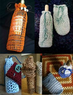 I love making crochet wine bags. So easy to spruce up a housewarming gift!