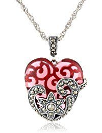 Sterling Silver, Oxidized Marcasite, and Gemstone Colored Glass Heart Pendant Necklace, 18' >>> Continue to the product at the image link.
