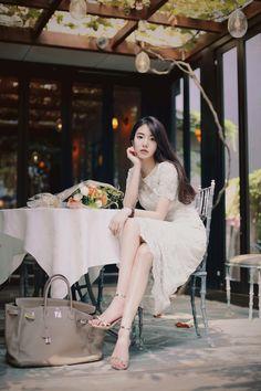 #milkcocoa daily 2016 white lace dress feminine classy look (MT)