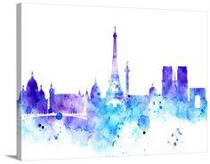 City Wall Art - Watercolor Large Wall Art Print - Paris Art - Paris City Skyline Silhouettes Watercolor Large Canvas Print, Eiffel Tower