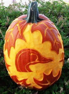 "Here is a hand carved ""Ducks Unlimited"" pumpkin by Carl Franklin Jones, food artist!"