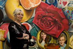 """Audrey Flack in front of her painting """"Queen""""(1975/76), Deutsche Guggenheim…"""