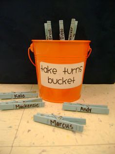 An alternative to popsicle sticks. Once you've called that student, clip it onto the bucket.