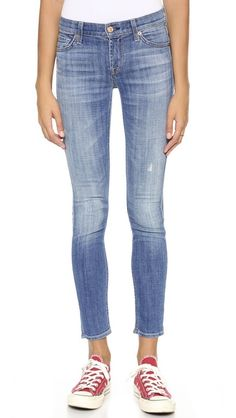 7 For All Mankind Skinny Jeans- *perfect light-wash jeans to wear with neutral tone boots (brown leather, deep red/maroon suede/leather, deep green suede/leather...etc.), sweaters, tanks+chunky cardigans, a long necklace and some silver cuff bracelets...these are perfect!