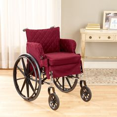 Image: Via Hayneedle Wheelchair Slip Covers, comes with the padded cushion. I want this!!