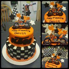 KTM cake. Motocross, checkered flag, orange.
