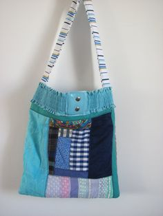 a handmade quilted cotton bag one of a kind tote by rivkafi53, $18.00