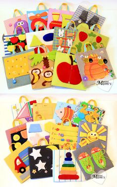 A big developing toy (set of tablets) /Quiet Book, Busy Book, MiniMom's - 24 pages (1-4 year) made to order $340.00 (just $14/page!) HOMEMADE!!