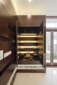 Pooja Mandir Design Ideas, Pooja Mandir Designs for Home, Cabinet Designs Temple Design For Home, Indian Home Design, Modern Windows And Doors, Mandir Design, Fireplace Stores, Pooja Mandir, Pooja Room Door Design, Puja Room, Indian Homes