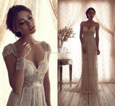 Wholesale Wedding Dresses - Buy High Quality 2015 Vintage Sheath Wedding Dresses Sheer Anna Campbell Lace Bridal Gowns Lace Backless Church Wedding Custom Beads Charming, $173.24 | DHgate