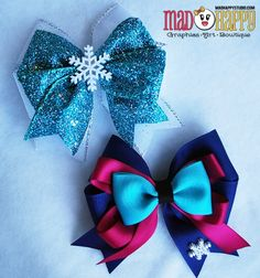 Elsa & Anna Hair Bow set - these would be cute to make as party favors for a Frozen Birthday party. Frozen Bows - Elsa & Anna Sisters Combo Set from Mad Happy Studio on Storenvy Cuz it's frozen I don't know about making them exactly like this but it woul Hair Ribbons, Ribbon Bows, Broches Disney, Frozen Bows, Elsa Frozen, Frozen Favors, Frozen Dress, Disney Frozen, Disney Hair Bows