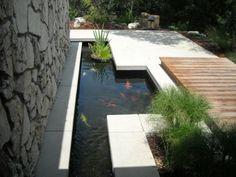 Garden, Fascinating Modern Linear Garden Pond Design Ideas With Stone Walls Koi Ponds Backyard Landscaping Lawn Edging Ideas Designs Water F.