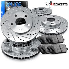 Front and Rear MagnumBrakes Cross Drilled Brake Rotors /& Ceramic Brake Pads for 2001-2005 Mercedes Benz C240 RWD w//o Sport Package