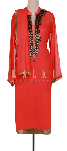 Buy Online from the link below. We ship worldwide (Free Shipping over US$100).  http://www.kalkifashion.com/dark-coral-semi-stitched-suit-adorn-in-kardana-only-on-kalki.html
