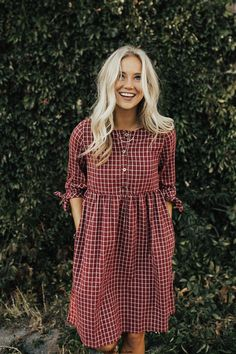 "Burgundy + White Plaid Dress Sleeve + Ribbon Tie Cuff Button Up Front Gather. - ""Fashions fade, style is eternal. Mode Outfits, Fall Outfits, Summer Outfits, Fashion Outfits, Dress Fashion, Fashion Clothes, Fashion Fashion, Fashion Tips, Fashion Trends"