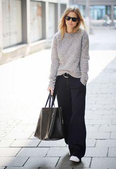 Un look d'automne avec un pull doudou et un pantalon pattes d'eph
