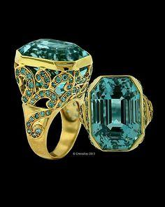 aquamarine diamond 18k ring by crevoshay