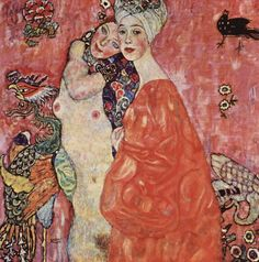 "Gustav Klimt - Die Freundinnen (1916) ""The Girlfriends"" or ""The Women Friends"" -- Especially in his late drawings Klimt engages to homosexual love. In this late painting the bodies of the women seem to be dematerialized. The background dissolves in a decorative ornamental space. Destroyed by a fire set by retreating German forces in 1945 at Schloss Immendorf, Austria."