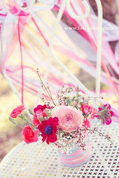 Wedding decoration pink glitter flowers