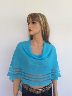 Linen Poncho Turquoise colour Linen Women's Shawl Wrap