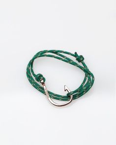 Classic Mainsai rose gold plated hook on green cord. $75