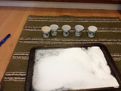 Science experiments with baking soda and vinegar. Kept my kids busy for 45 minutes!