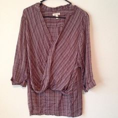 SPRING CLEARANCE  NEW UO Plaid wrap front shirt Silence & noise noise lightweight 'wrap' front plum colored top the modeled pictures from the website are not the right color, the first two pictures show the true color of the item. Urban Outfitters Tops