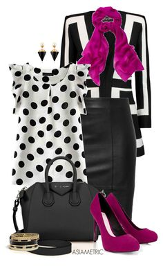"""""""Office black, white and purple"""" by julyjess ❤ liked on Polyvore featuring Balmain, Givenchy, Lipsy, Vita Fede and GUESS"""