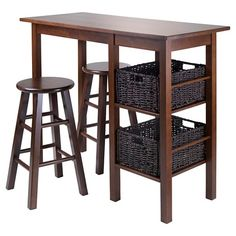 Egan 5 Piece Set Breakfast Table with Basket And Counter Stools - Walnut & Chocolate - Winsome