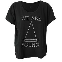 FELDER FELDER 'We Are Young' Cotton T-Shirt ($71) ❤ liked on Polyvore featuring tops, t-shirts, shirts, blusas, scoop neck t shirt, cotton t shirts, short sleeve shirts, slouchy shirts and slouchy t shirt